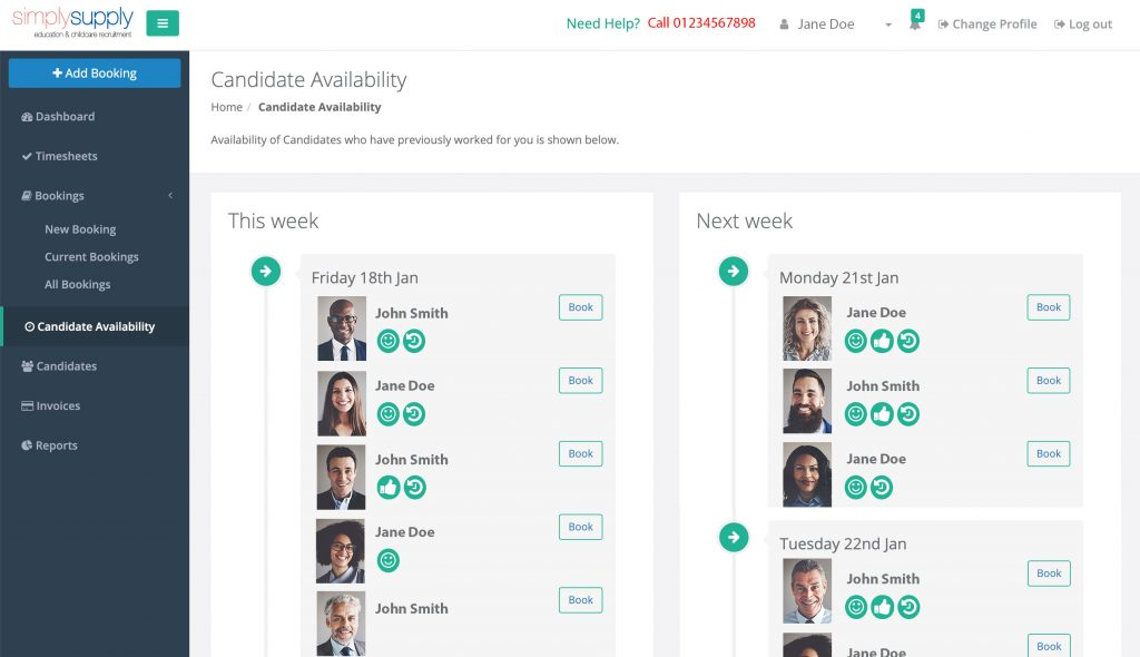march Client CandidateAvailability 1024x590 - How our clients benefit from our online portal